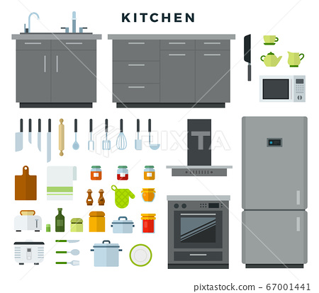 Collection of kitchen utensils, appliances, equipment, furniture. Vector illustration in flat style. 67001441