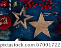 Christmas flat lay scene with golden decorations 67001722