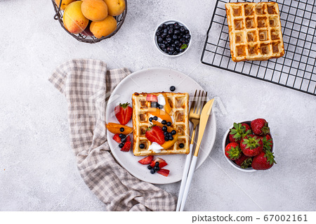 Waffles with berries and fruit 67002161