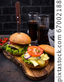 Burger and cheeseburger with tomato 67002188
