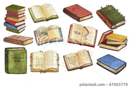 Collection of vintage books and stacks. Watercolor set, clipart 67003779