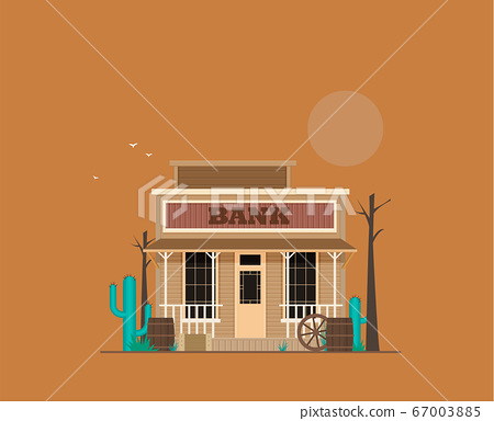 Western town bank in flat design style isolated on 67003885