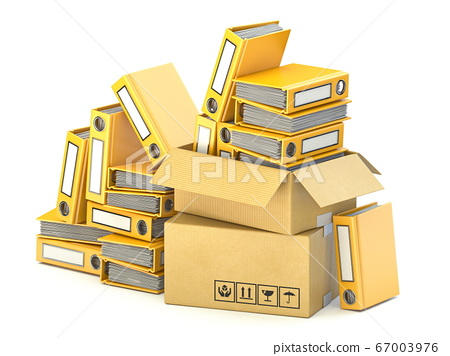 Bunch of yellow file folders in cardboard boxes 3D 67003976
