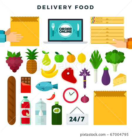 Online ordering and delivery food, set of icons. Grocery delivery. Colorful vector illustration. 67004795