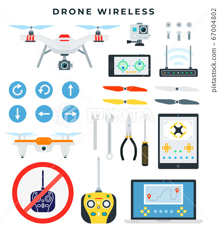 Drone with wireless control. Quadcopter and all necessary accessories and tools for assembly and repair. Drone details. Flat vector illustration. 67004802