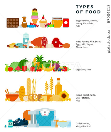 Types of food vector flat illustration. Healthy food pyramid from sweets to bread. 67004818