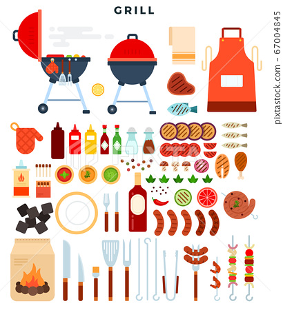 All for grill, big set of elements. Different special tools and food for barbecue party. Vector illustration. 67004845
