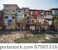 Poor and impoverished slums of Dharavi in the city of Mumbai. 67005316