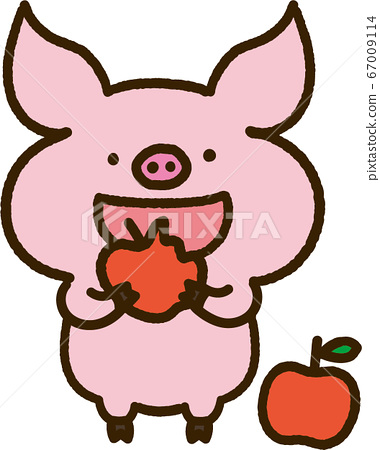 Pig character eating an apple 67009114