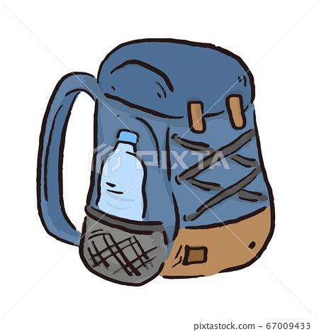 """등산, 야외 캠핑, 글램 핑 등으로 사용할 수있는, ゆるかわな """"배낭""""벡터 일러스트 67009433"""