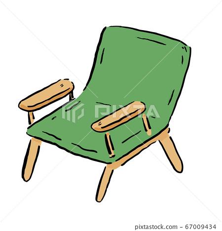 """등산, 야외 캠핑, 글램 핑 등으로 사용할 수있는, ゆるかわな """"접이식 의자""""벡터 일러스트 67009434"""