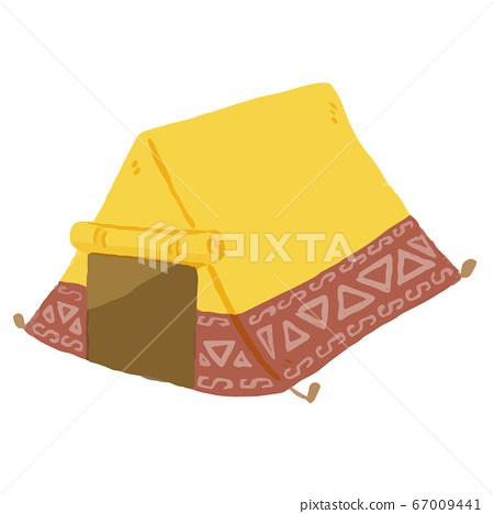 """등산, 야외 캠핑, 글램 핑 등으로 사용할 수있는, ゆるかわな """"텐트""""벡터 일러스트 67009441"""
