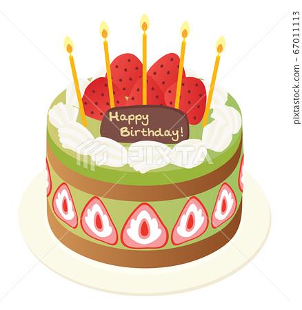Strawberry and matcha birthday cake 67011113