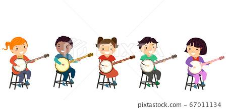 Stickman Kids Banjo Tutorial Class Illustration 67011134
