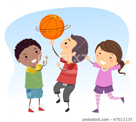 Stickman Kids Basketball Ball Spin Illustration 67011135