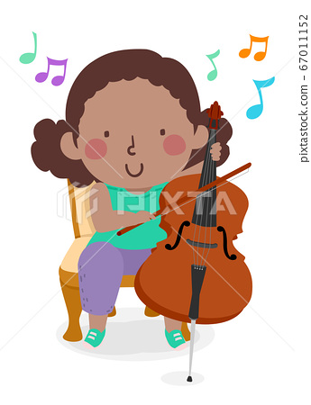 Kid Girl Play Cello Music Notes Illustration 67011152