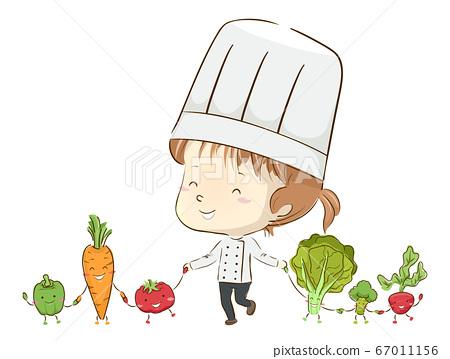 Kid Girl Chef Vegetable Mascots Unite Illustration 67011156