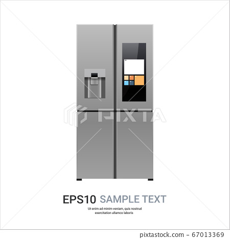 stainless steel refrigerator with display side by side fridge freezer home appliance concept 67013369