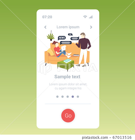 woman reading news on laptop couple chutting during meeting chat bubble communication concept 67013516