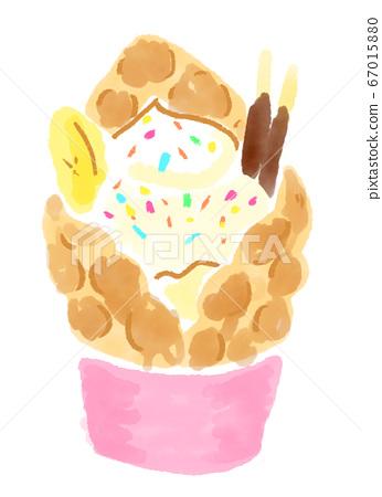 """深受年輕人歡迎!受歡迎的台灣和韓國甜點美食""""泡泡華夫餅""""的插圖 67015880"""