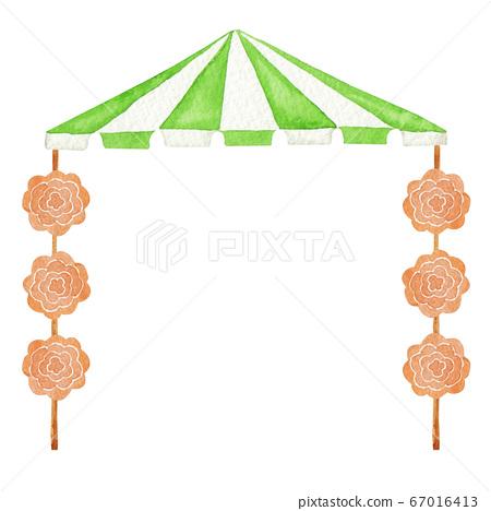 야외 텐트 운동회 이벤트 수채화 일러스트 67016413