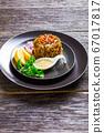 Keto low-carb japanese salad of wakame seaweed 67017817