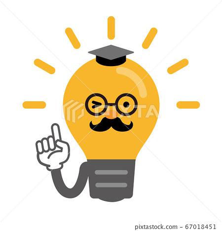 빛나는 전구의 만화 스타일 의인화 일러스트 (교수 바람) 67018451