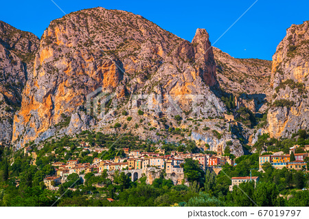 Fantastic Moustiers Sainte Marie old village in Provence region, France 67019797