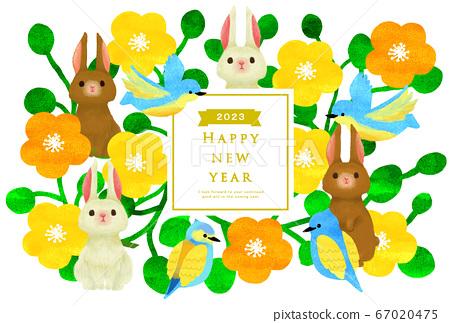 2023年新年賀卡模板新年快樂新年賀卡兔年兔年兔年 67020475