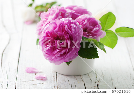 Pink roses on the wooden table 67021616