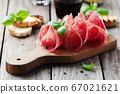 Delicious salami with basil and wine 67021621