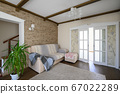 Classic brown and white living room interior 67022289