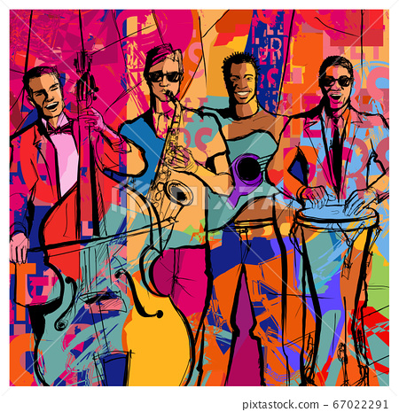 Jazz band on a colorful background 67022291
