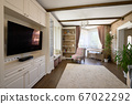 Classic brown and white living room interior 67022292