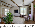 Classic brown and white living room interior 67022295