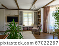 Classic brown and white living room interior 67022297