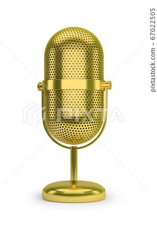 golden retro microphone 67022505