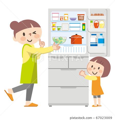 父母和孩子打開冰箱的插圖 67023009