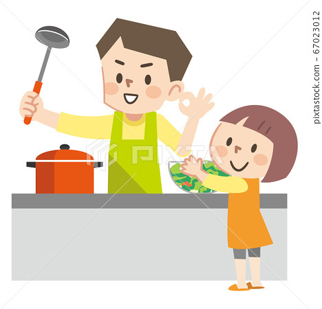 Illustration of parents and children cooking 67023012