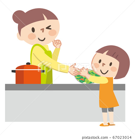 요리를하는 부모와 자식의 일러스트레이션 67023014