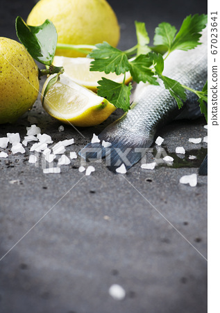 Raw seabass with salt, lemon and parsley 67023641