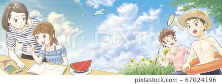 積雨雲的夏日天空,近景和人們的回憶 67024196