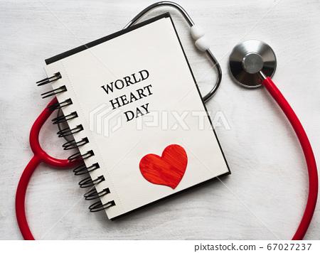 Happy World Heart Day. Beautiful card. Close-up, 67027237