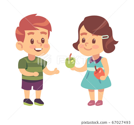 Kids good manners. Cartoon girl shares apple with boy, children respectful and thankful behavior, symbol of friendship. Flat vector isolated illustration 67027493