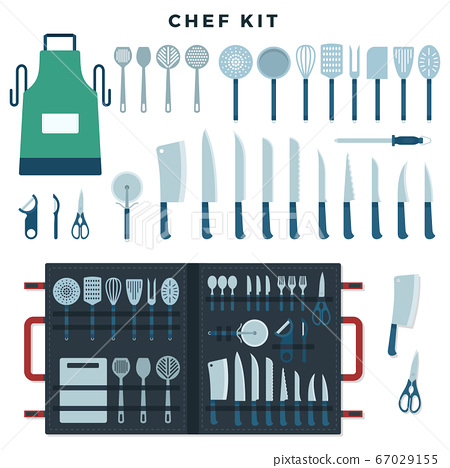 Chef kitchen tools set. Collection of tools for cooking, knives for meat and vegetables, kitchenware equipment with text Chef Kit. Vector illustration. 67029155