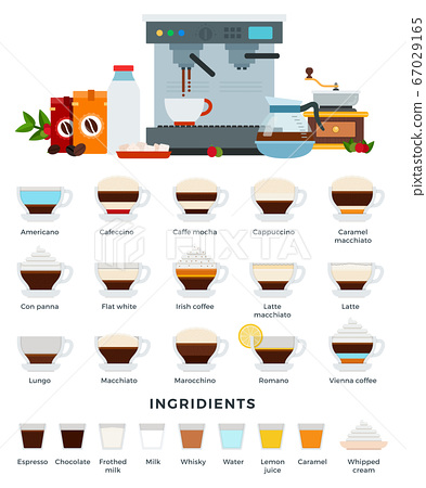 Different types of coffee drinks in in glass cups with saucers. Ingredients, equipment and tools for their preparation. Vector illustration, set of icons. 67029165