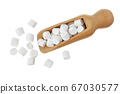 Marshmallow in wooden scoop isolated on white background with clipping path and full depth of field. Top view. Flat lay 67030577