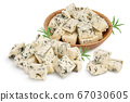 diced Blue cheese isolated on white background with clipping path and full depth of field. 67030605