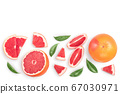 Grapefruit and slices isolated on white background. Top view with copy space for your text. Flat lay. With clipping path and full depth of field 67030971
