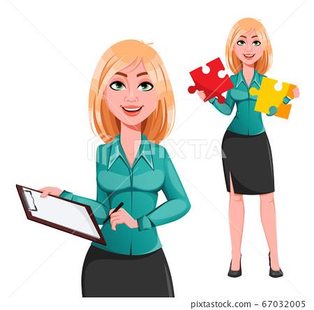 Blond businesswoman cartoon character 67032005